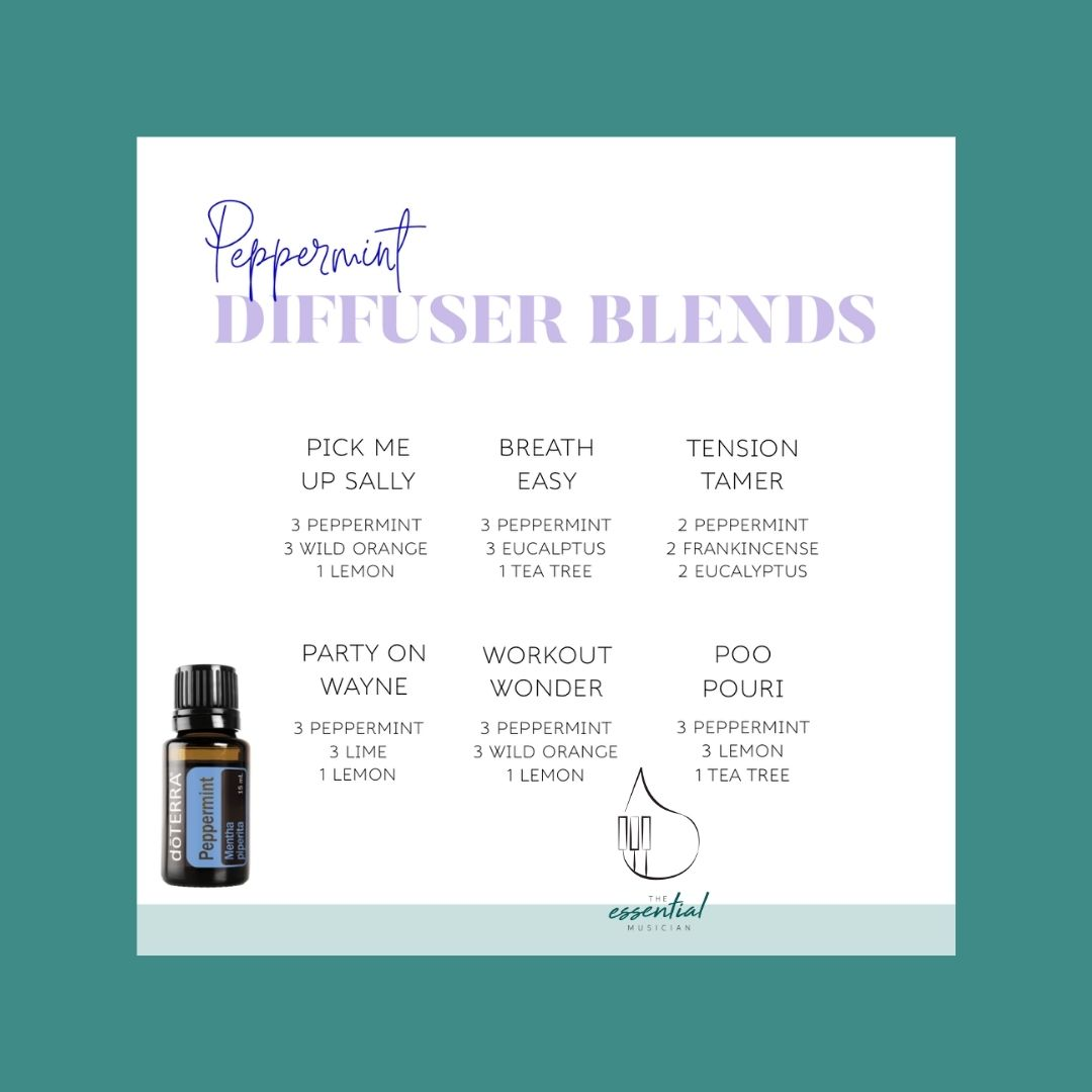 Six different diffuser blends featuring peppermint essential oil